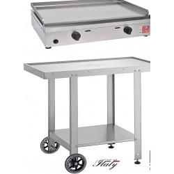 Barbecue Alfa 600 con Carrello Aperto multiuso inox